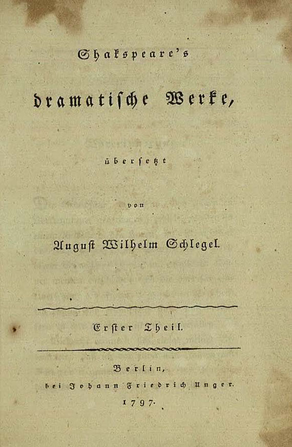 William Shakespeare - Dramatische Werke. 8 Bde. 1797
