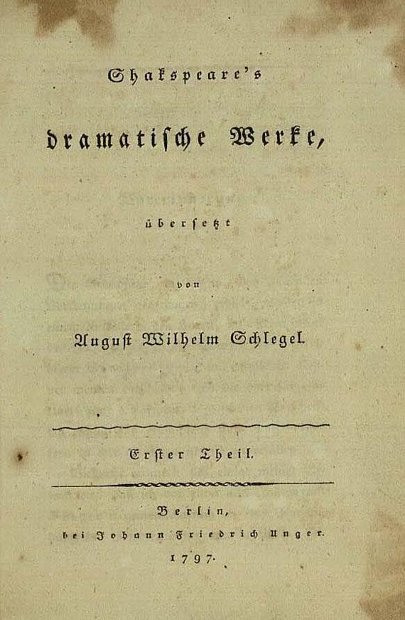 William Shakespeare - Dramatische Werke. 8 Bde. 1797