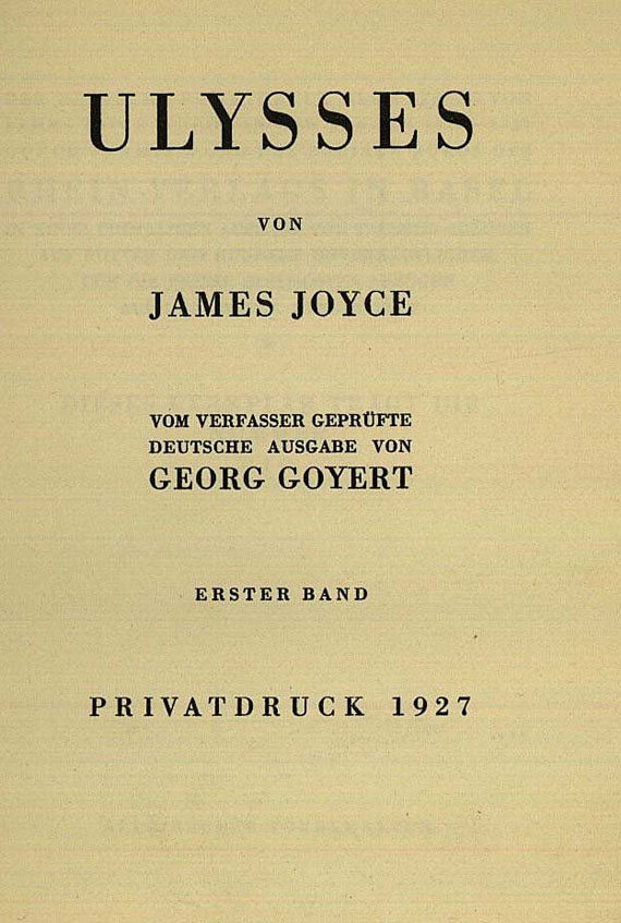 James Joyce - Ulysses. 3 Bde. 1927