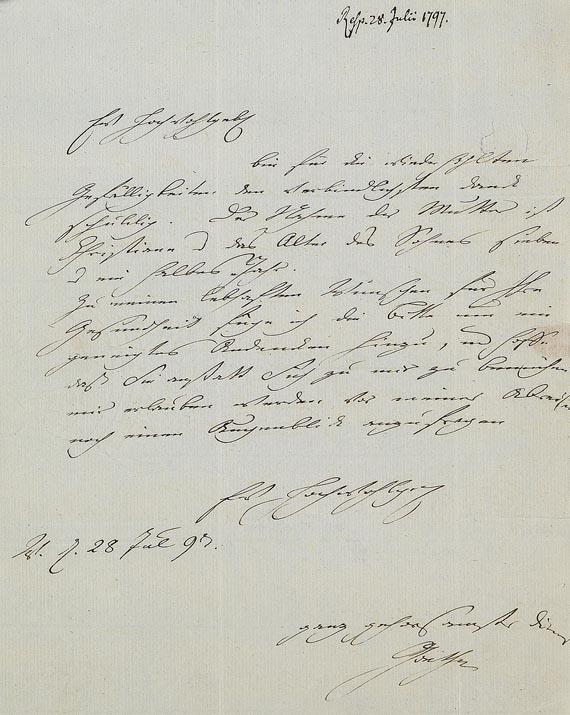 Johann Wolfgang von Goethe - 1 eigh. Brief m. U. 1797.