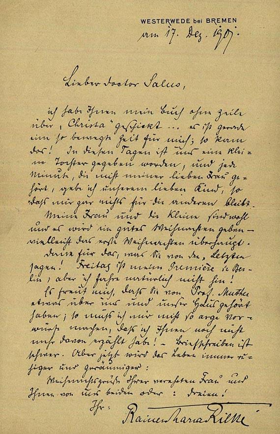 Rainer Maria Rilke - 1 Bl. handschrifltich, an Herrn Salus, 1901.