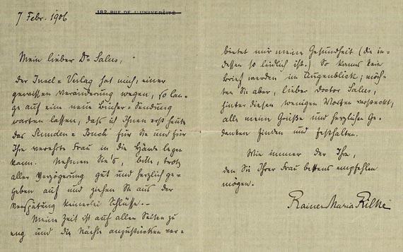 Rainer Maria Rilke - 1 Bl. handschriftlich, an Herrn Salus, 1906.