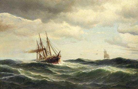 Carl Ludvig Bille - Dampfsegler auf stürmischer See
