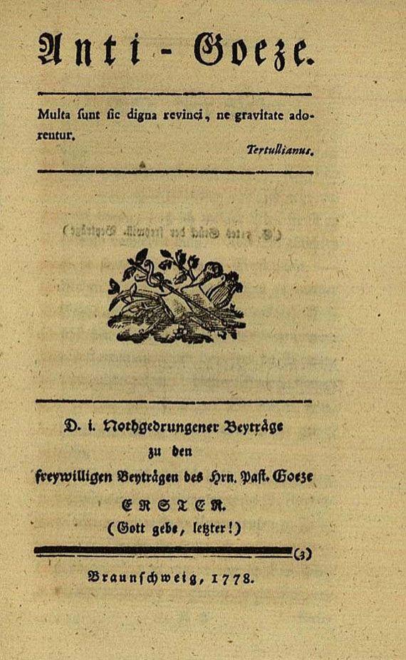 Gotthold Ephraim Lessing - Anti-Goeze, 1778. [105]