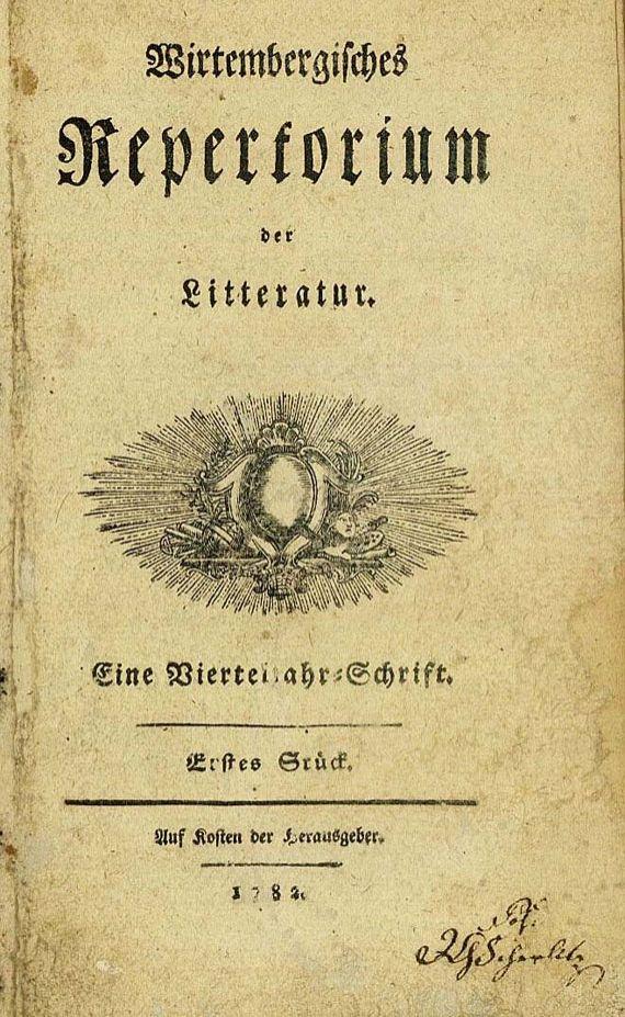 Friedrich von Schiller - Wirtembergisches Repertorium, 1782