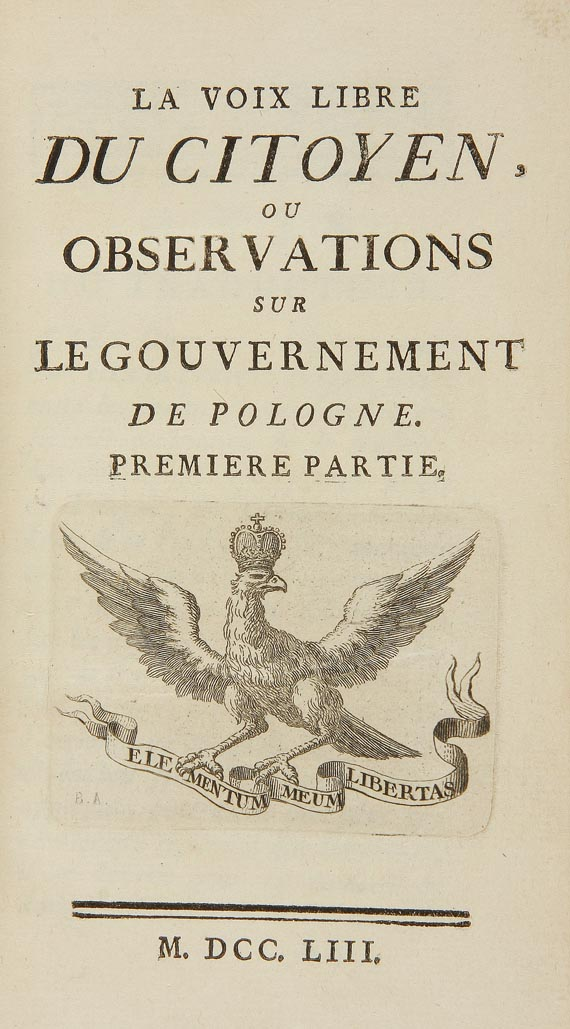 Jean Sobieski - La voix libre  u. Anecdotes de Pologne. 1753. 2 Tle.