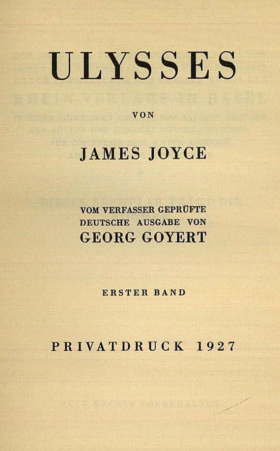James Joyce - Ulysses. (Privatdruck) 1927