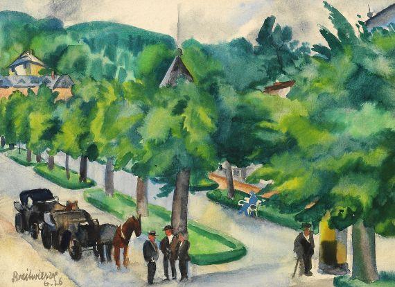 Georg Breitwieser - Allee mit Pferdekutschen