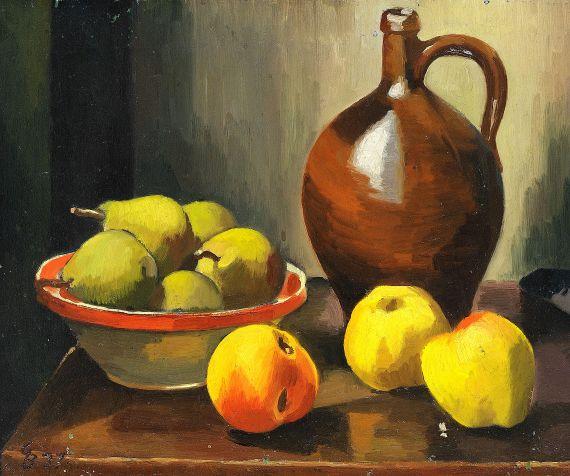 Georg Breitwieser - Stillleben mit Äpfeln, Birnen und Krug
