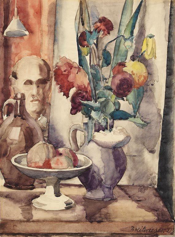 Georg Breitwieser - Stillleben mit Blumenvase und Obstschale