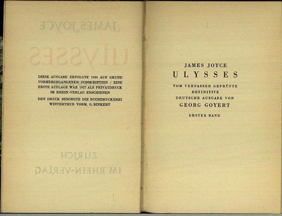 James Joyce - Ulysses, 2 Bde., 1930.