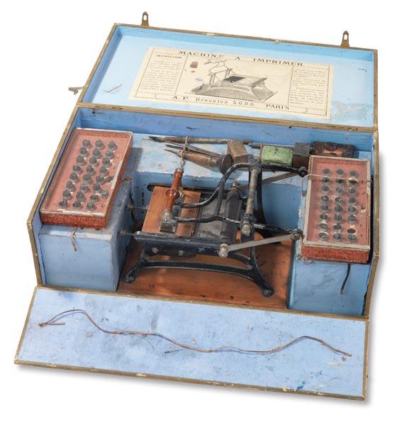 Druckmaschine - Druckmaschine für Kinder. Um 1890.