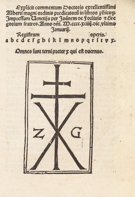 Albertus Magnus - Physica. Venedig 1494.