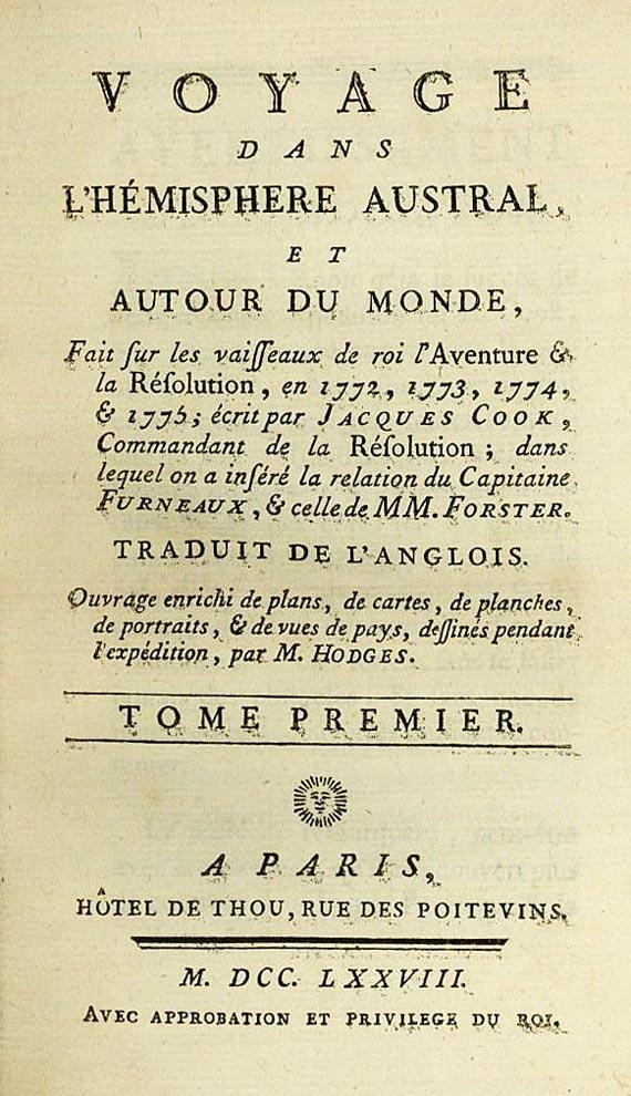 James Cook - Voyage dans L'hémishere  6 Bde. 1778