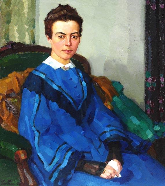 Leo Putz - Porträt einer Dame im blauen Kleid