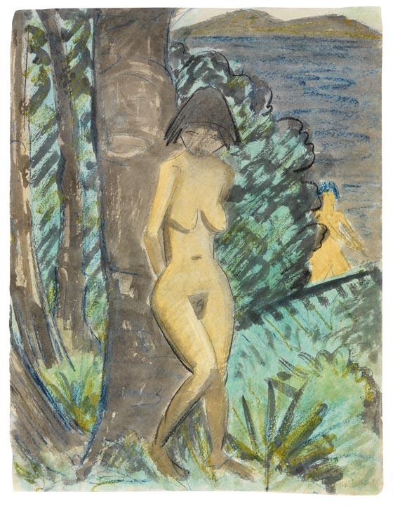 Otto Mueller - Stehender weiblicher Akt, an einen Baum gelehnt, rechts mit Blick auf einen Teich und einer weiteren Badenden