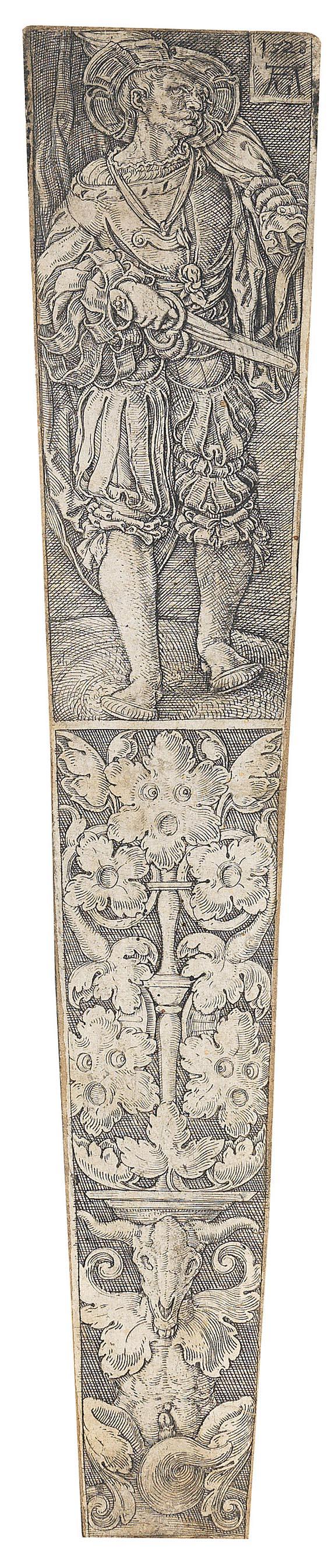 Heinrich Aldegrever - Entwurf für eine Dolchscheide: Fähnrich und Ornamentschmuck