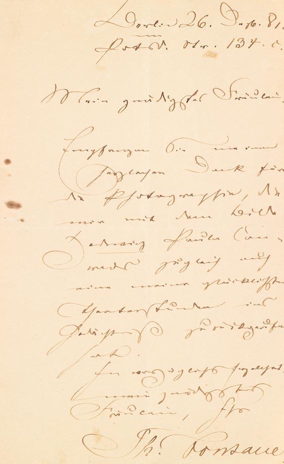 Theodor Fontane - Eigh. Brief m. U. (14). 1881