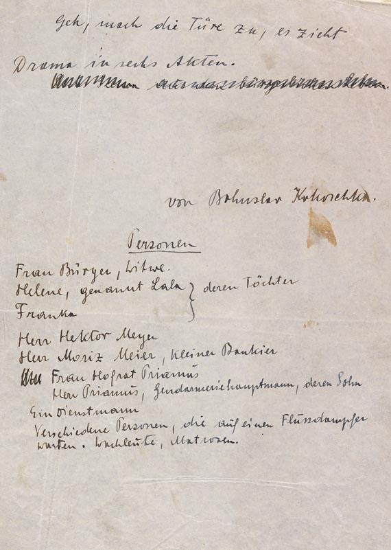 Bohuslav Kokoschka - Eigh. Manuskript von Geh, mach die Türe zu. Um 1925