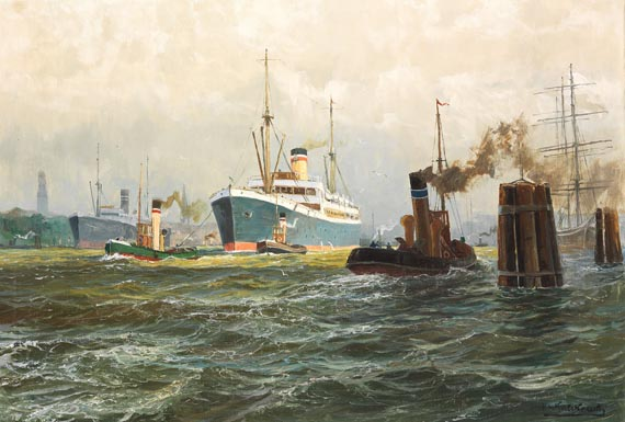Patrick von Kalckreuth - Ein Dampfer der Hamburg-Amerika-Linie verläßt unter Schlepperhilfe den Hamburger Hafen