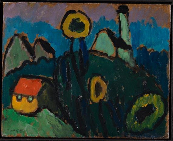 Gabriele Münter - Landschaft mit Sonnenblumen -