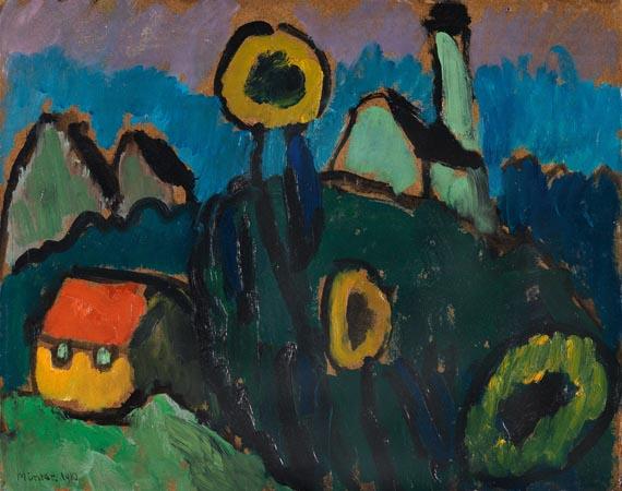 Gabriele Münter - Landschaft mit Sonnenblumen