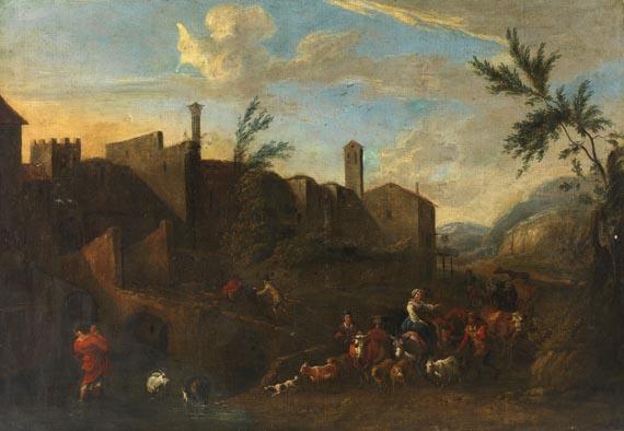 Nicolaes Claes Pietersz. Berchem - Nachfolger - Bauern mit ihrer Viehherde