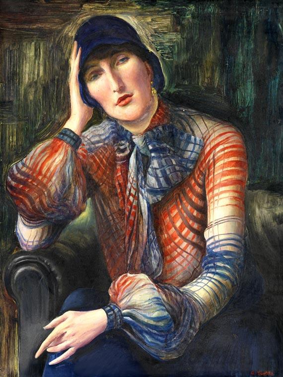 Albert Birkle - Damenbildnis - Elisabeth Starosta mit Chiffon-Bluse und Hut