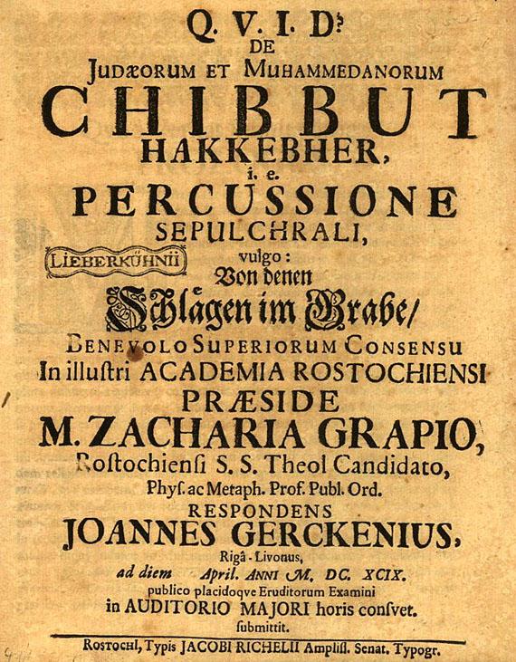 Judaica - Gercken, Johannm, De Judaeorum et Muhammedanorum Chibbut hakkebher