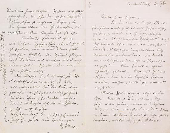 Franz Marc - Autograph: Über die Kunst (20.4.1910)