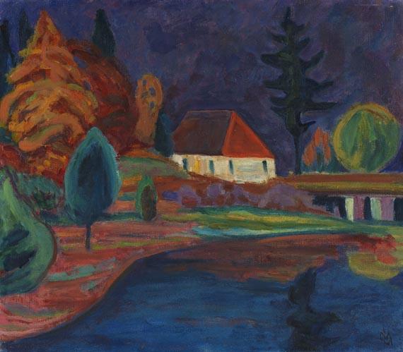 Gabriele Münter - Landschaft mit Haus in Oberau