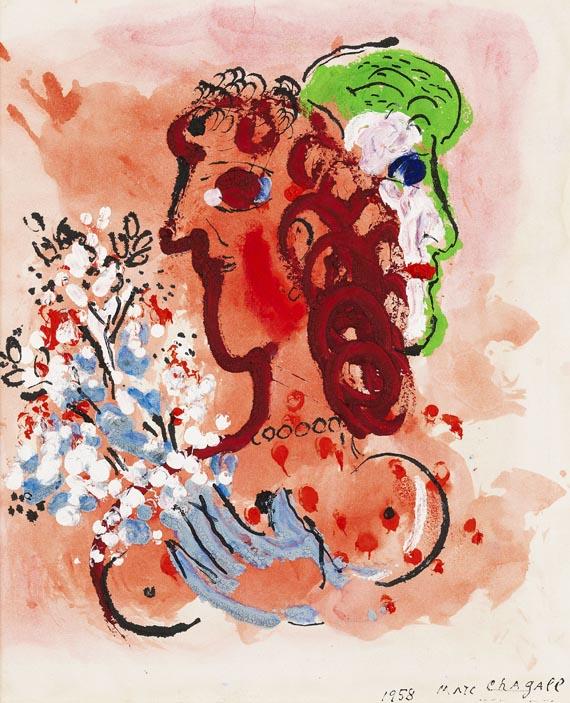 Marc Chagall - Fiancés au bouquet blanc
