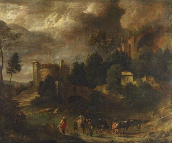 Nicolaes Claes Pietersz. Berchem - Umkreis - Italianisierende Landschaft mit Wanderer und Kuhhirten
