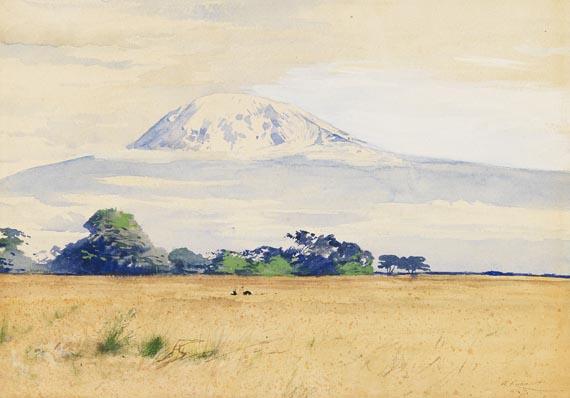 Friedrich Wilhelm Kuhnert - Straußen in der Savanne vor dem Kilimandscharo