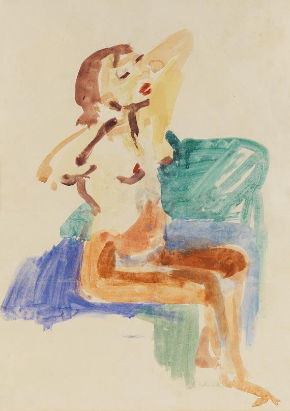 Oskar Kokoschka - Sitzender Mädchenakt