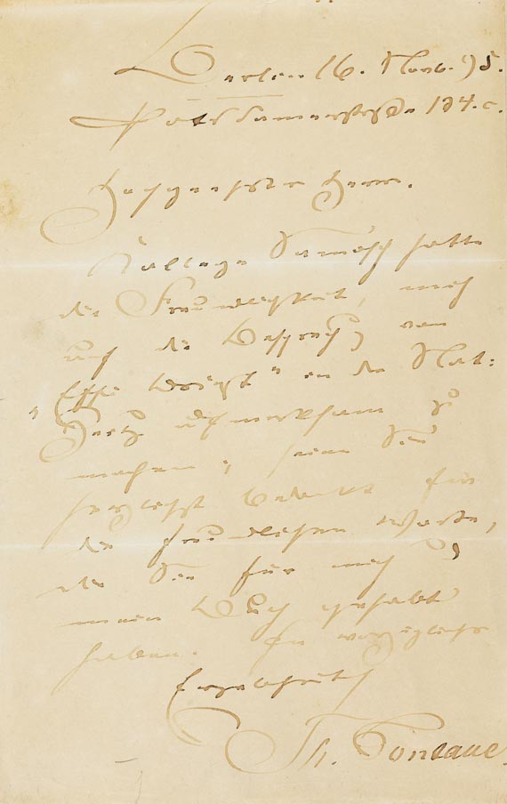 Theodor Fontane - 1 Autograph. 1895.
