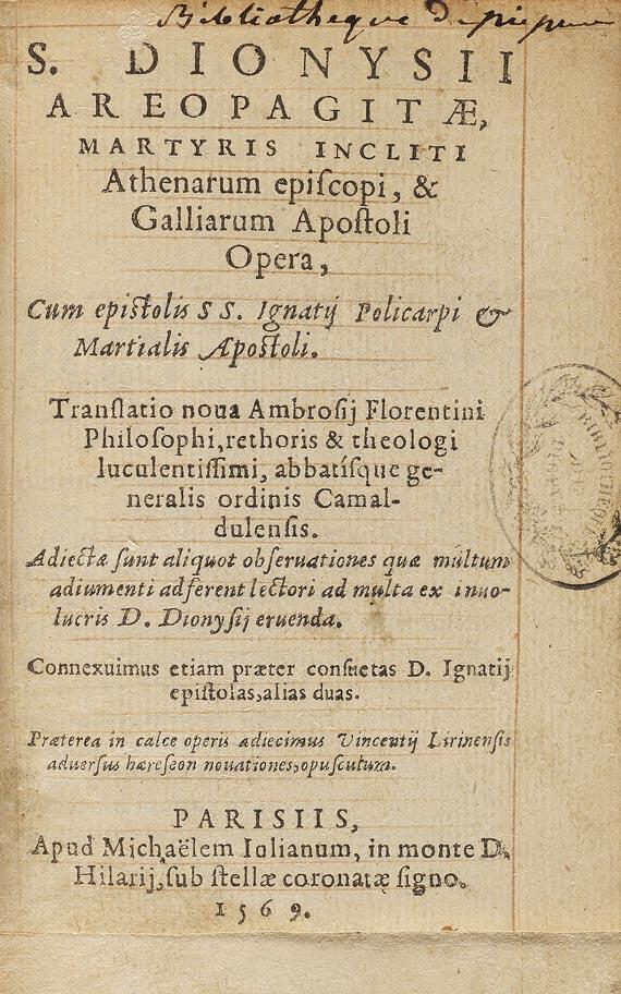 Dionysius Areopagnita - Opera. 1569.