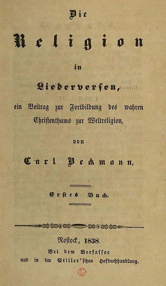 Carl Beckmann - Religion in Liederversen. 1838