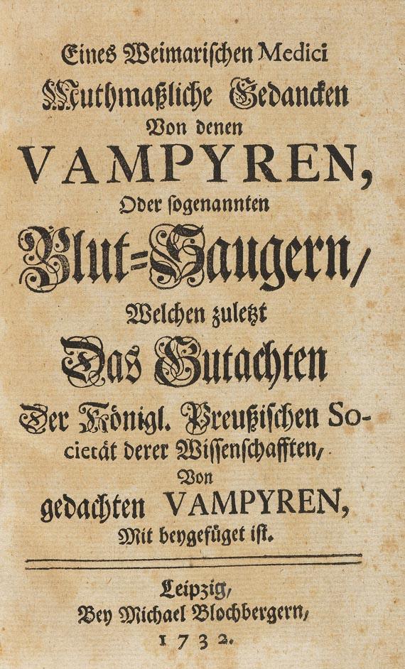 Johann Christian Fritsche - Von denen Vampyren. 1732