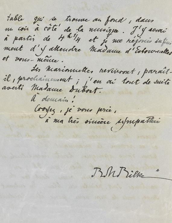 Rainer Maria Rilke - 1 Brief mit Unterschrift, 2 Seiten. Wohl 1909.