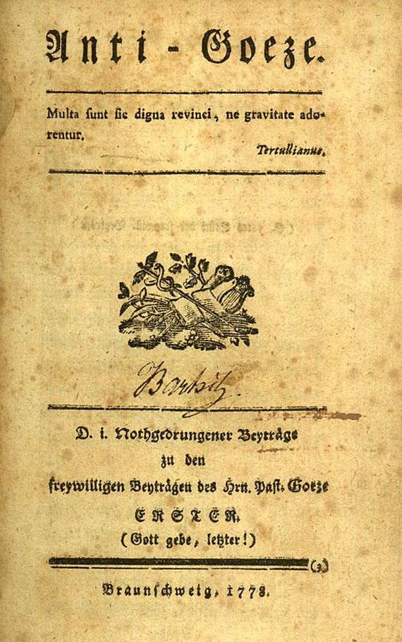 Gotthold Ephraim Lessing - Anti-Goeze. 1777