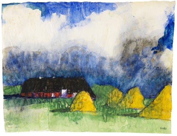 Emil Nolde - Marschlandschaft mit Bauernhof und Heudiemen