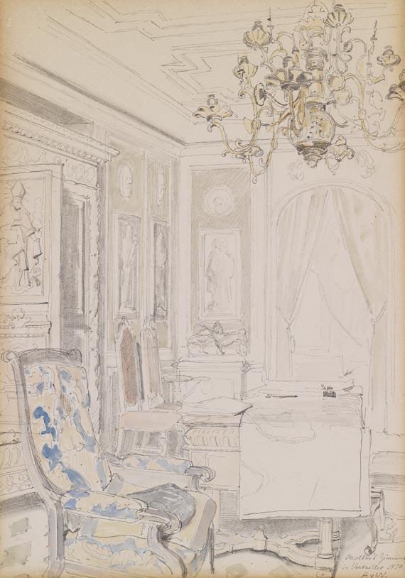 Anton von Werner - Moltkes Arbeitszimmer in Versailles