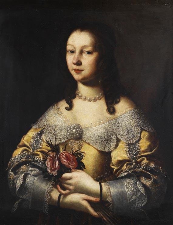 Pier Francesco Cittadini - Zugeschrieben - Porträt einer eleganten Dame mit kleinem Rosenbouquet
