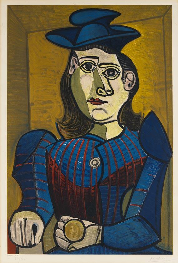 Pablo Picasso Femme, 1955 Color Lithograph, portrait of Dora Maar