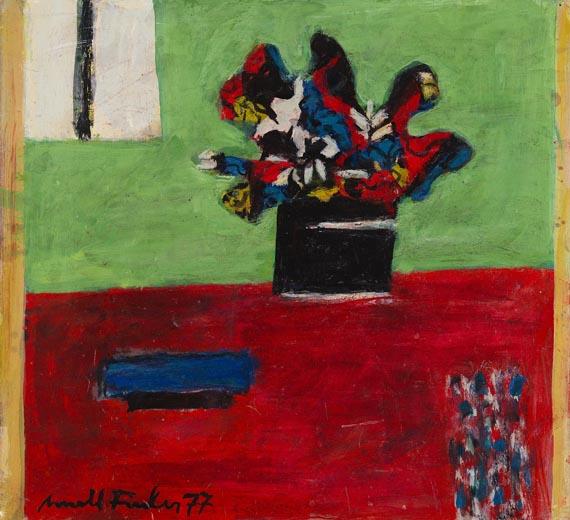 Arnold Fiedler - Schwarze Blumen auf Grün - Signatur