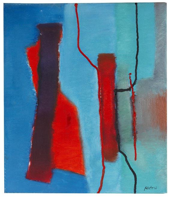 Fritz Winter - Rot vor Blau - Signatur