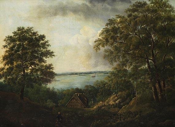 Ludwig Matthias Anton Brammer - Zugeschrieben - Blick auf die Elbe bei Blankenese