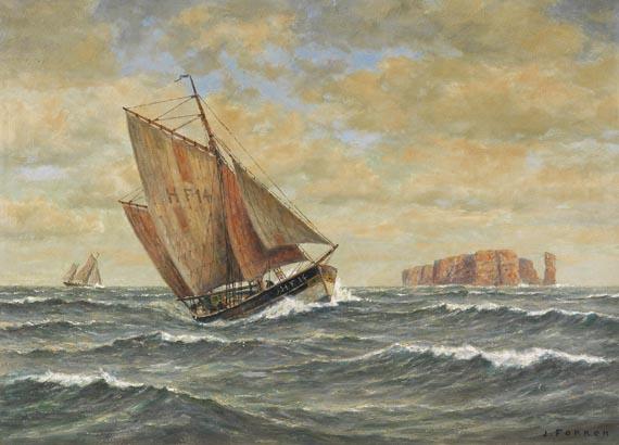 Jan Fokken - Finkenwerder Kutter vor Helgoland