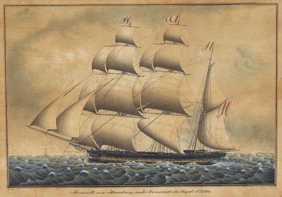"""Jacob A. H. Böttger - Godeffroy-Bark """"Henriette von Hamburg, unter Commando des Capt: J. Löbbe."""""""